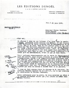 Maurice Poccachard_Doc 3_Guy Tosi, lettre à Cendrars du 25 juin 1948