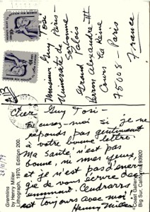 Maurice Poccachard_Doc 8b_ Henry Miller à Guy Tosi, dernière carte postale (28 novembre 1979)